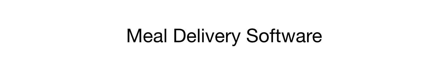 Meal Delivery Software